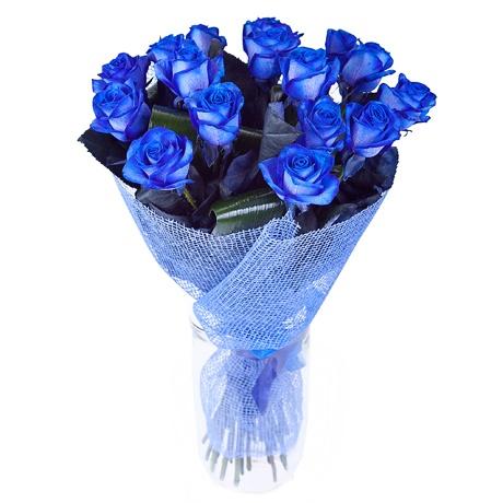 Недорого Необычный букет из синих роз 17 шт. Цена, фото, читать